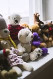 Soft toys on the windowsill Royalty Free Stock Images