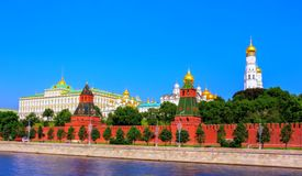 Soft vibrant view of Red walls of summer Kremlin. In Moscow royalty free stock images