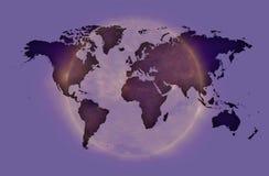 Soft violet World map over iluminated aura.