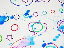 Soft vivid geometries spots watercolor blurred waxy gold spots colorful hues, strokes of brush, backgrounnd. Soft blue geometries spots watercolor blurred vivid Royalty Free Stock Photo