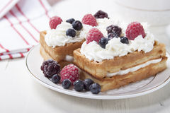 Soft waffles with protein cream and berries. Royalty Free Stock Photos