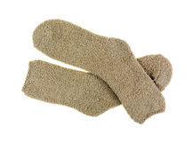 Soft Warm Cozy Pair Beige Socks Royalty Free Stock Photos