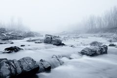 Soft water and fog in the river Royalty Free Stock Images