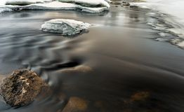 Soft water stream in winter. With ice and rocks in a warm tone Royalty Free Stock Image