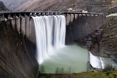 Soft waterfall. From the dam Stock Photos