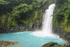 Soft Waterfall. Rio Celeste waterfall in Costa Rica Stock Photo