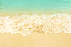 Soft wave on the beach. Summer season on empty tropical beach wi. Th waves and clear sand Royalty Free Stock Images