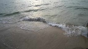 Soft wave at the beach in sunset time at pattaya stock footage