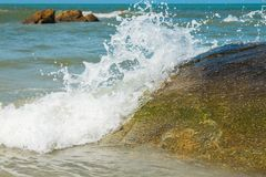 Soft wave of ocean on The beach Stock Photography