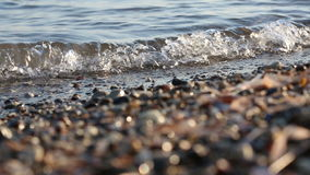 Soft wave of the sea on the sandy beach. Soft wave of the sea on the beach with black sand stock video footage