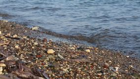 Soft wave of the sea on the sandy beach. Soft wave of the sea on the beach with black sand stock footage
