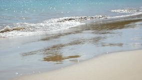 Soft wave of the sea on the sandy beach stock video footage