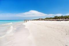 Soft wave of the sea on the sandy beach. Cuba, Royalty Free Stock Photos