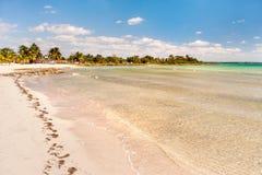 Soft wave of the sea on the sandy beach. Cuba, Varadero. Stock Photography