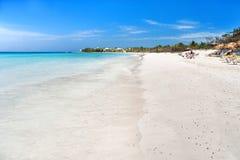 Soft wave of the sea on the sandy beach. Cuba, Varadero. Royalty Free Stock Photo