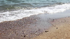 Soft wave of sea on sandy beach, sunny day. Close-up shooting, selective focus. Soft wave of sea on sandy beach, sunny day. Close-up shooting, selective focus stock video footage