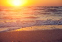 Soft wave of sea at sunset. Soft wave of sea on sandy beach at warm gold sunset light. Selective focus Stock Photos