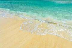 Soft wave of the sea on the tropical sandy beach Stock Images
