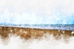 Soft wave water sea watercolor illustration painting. Beautiful soft wave sea and beach on watercolor painting background vector illustration