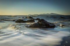 Soft Waves. Crashing on the Rock stock images