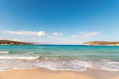 Soft waves of the sea on the beautiful beach on sky background. Voulisma beach in Creta island.  royalty free stock image