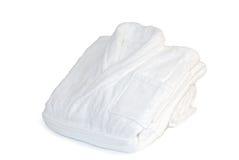 Soft white bathrobe. On white background Royalty Free Stock Images