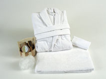 Soft white bathrobe Stock Photography