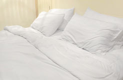 Soft white bed Stock Image