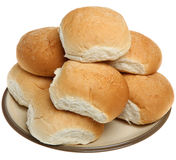 Soft White Bread Rolls. Stacked on a plate Royalty Free Stock Photography
