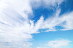 soft white cloud sector on blue sky for background Stock Photos