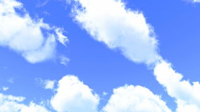Soft white clouds are transforming and moving across the blue sky. UHD, 3D-Rendering stock video
