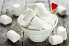 Soft white marshmallow love dessert Stock Photo