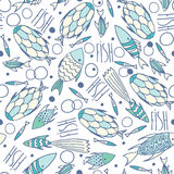 Soft white pattern with fishes in chaotic manner Stock Photos