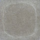 Soft white rounded square mark in gray concrete Royalty Free Stock Image