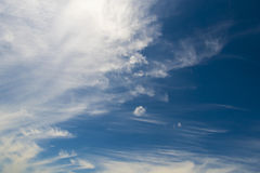 Soft wispy clouds over the blue sky. Soft feather clouds over the blue sky royalty free stock photos