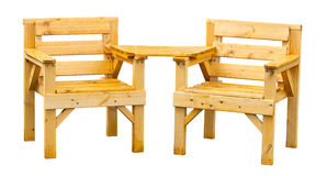Soft wood garden furniture. Double patio seating made from pine a popular soft wood often used for garden furniture Stock Photo