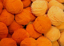 Soft wool for sale balls in wool and fabric store Stock Photos