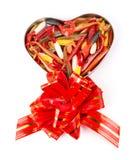 Softbaits de pêche dans le boîte-cadeau pour le jour de valentines Image libre de droits