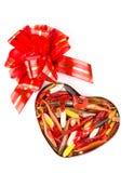 Softbaits de pêche dans le boîte-cadeau pour le jour de valentines Images stock