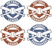 softball ένωσης μπέιζ-μπώλ γραμματόσημα απεικόνιση αποθεμάτων