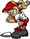 Softball κατσικιών ρόπαλο εκμετάλλευσης κτυπήματος απεικόνιση αποθεμάτων