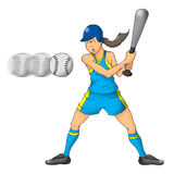 softball κοριτσιών Στοκ Εικόνες