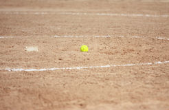 Softball. Photo of a softball on the pitchers mound Royalty Free Stock Photos