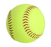 Softball. Yellow with red stitching, full picture Royalty Free Stock Images