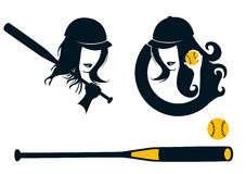 Softball. Lady holding a ball and a bat - other softball elements royalty free illustration