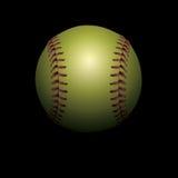 Softball auf schwarzer beschatteter Hintergrund-Illustration Lizenzfreies Stockfoto