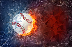 Softball ball in fire and water. Softball ball on fire and water with lightening around on abstract polygonal background. Horizontal layout with text space Royalty Free Stock Photography