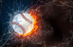 Softball ball in fire and water. Softball ball on fire and water with lightening around on black background. Horizontal layout with text space Royalty Free Stock Photos