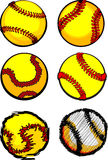 Softball Ball Images. Assorted Illustrated Fastpitch Softball Ball Images Stock Photography
