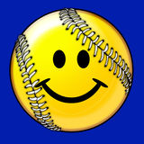 Softball Ball Smiling Face Image stock illustration